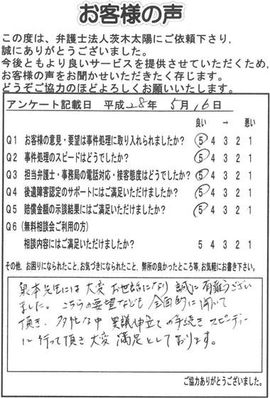 泉本先生には大変お世話になり誠に有難うございました。こちらの要望なども全面的に聞いて頂き、多忙な中、異議申立ての手続きスピーディーに行って頂き大変満足としております。