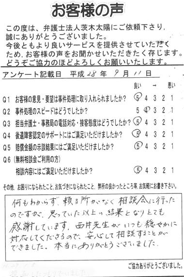 何もわからず、頼る所がなく、相談会に行ったのですが、思っていた以上の結果となりとても感謝しています。西井先生がいつも穏やかに対応してくださるので、安心して相談することができました。本当にありがとうございました。