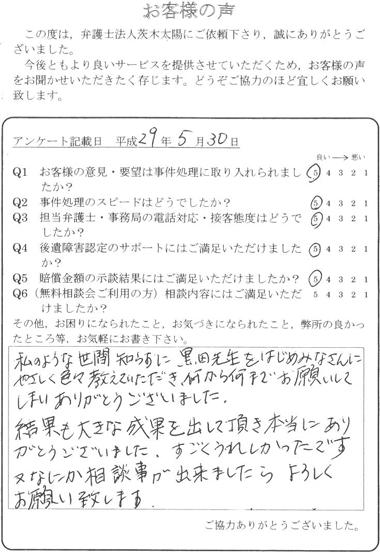 私のような世間知らずに、黒田先生をはじめみなさんにやさしく色々教えていただき、何から何までお願いしてしまいありがとうございました。結果も大きな成果を出して頂き本当にありがとうございました。すごくうれしかったです。又なにか相談事が出来ましたらよろしくお願い致します。